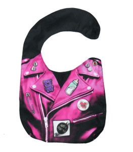 Pink Leather Jacket with Pins Baby Bib