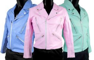 Women's Pastel Leather Biker Jacket
