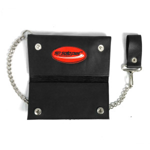Leather Long Wallet with Chain