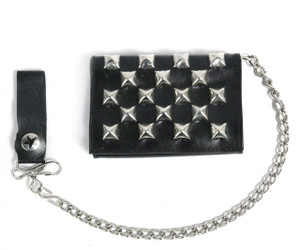 Black Wallet with Pyramid Studs with Chain