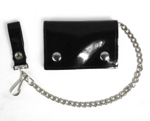 Black Patent Wallet with Chain