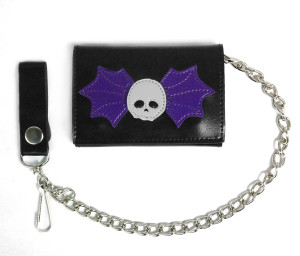 Winged Skull Black Wallet with Chain