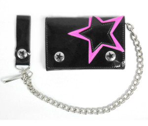 Pink Star Black Wallet with Chain