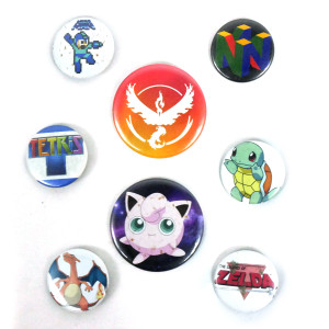8 Piece Pin Lot - Pokemon, Nintendo 64, Tetris + More!