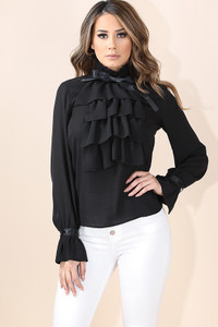 K Too - Ruffle Detailed Ribbon Blouse