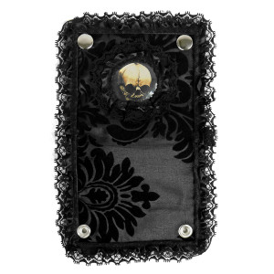 Black Lace Brocade Skull Bi-Fold Wallet