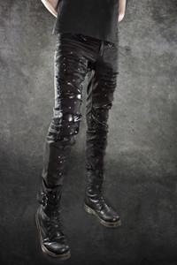 Black Vegan Distressed with Studs Details Pants