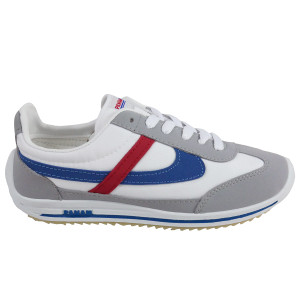 Panam - White and Gray with Red and Blue Synthetic Unisex Sneaker