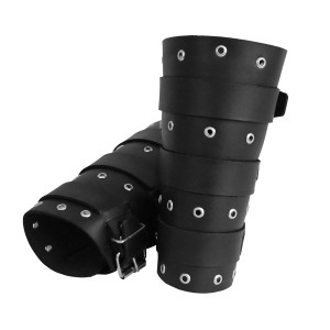 Road Warrior - Leather Bracelet with Metal Grommets