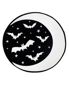 Crescent Moon & Bats Round Goth Beach Towel