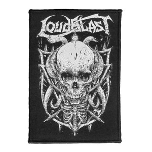 "Loud Blast Horned Skull 4x5"" WOVEN Patch"