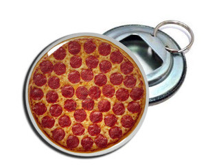 "Pizza 2.25"" Metal Bottle Opener Keychain"