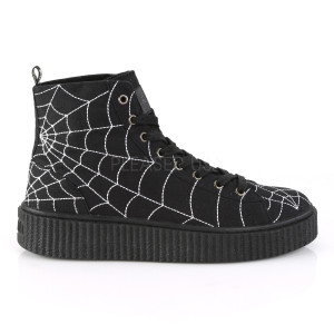 Ankle High Platform Sneakers with Spiderweb
