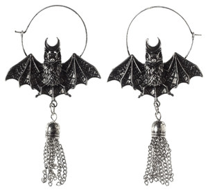 Oriental Bat Silver Earrings