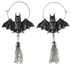 Oriental Bat Silver Earrings