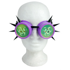 Purple Goggles with Spikes and Green Biohazard Lens