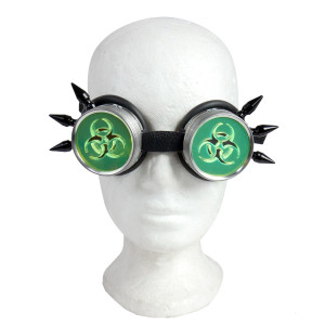 Cybergoth Chromed Goggles with Spikes and Biohazard Green Lens