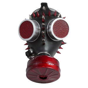 Gas Mask - Black and Red with Spikes