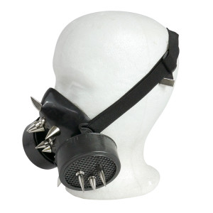 Black Respirator with Spikes and White Grate