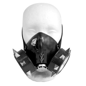 Black Respirator with Grate and Pyramid Stud Spikes
