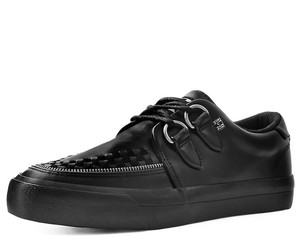 T.U.K. Shoes - A9422 Black Tukskin Zipper D-Ring VLK Creeper Sneake