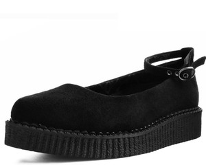 A9416L Black Suede Pointed Ballet Ankle Strap Creepers