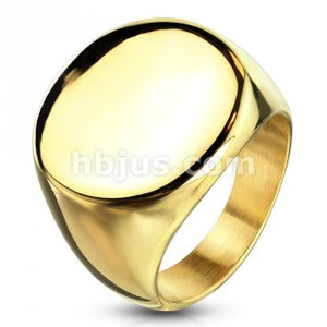 Gold IP Round Signet Stainless Steel Ring