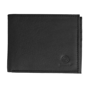 Men's Bi Fold Black Leather Wallet w/ Flap
