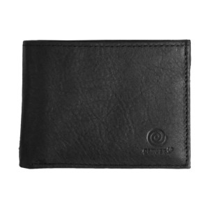 Men's Bi Fold Black Leather Wallet w/ Picture Flap