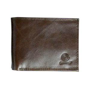 Men's Bi Fold Glossy Brown Leather Wallet