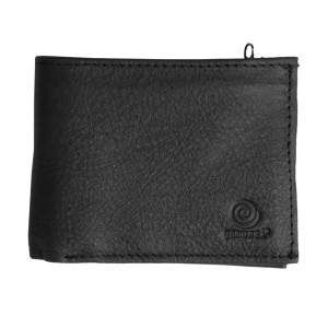 Men's Bi Fold Black Grainy Leather Wallet