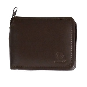 Men's Bi Fold Brown Zippered Leather Wallet