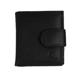 Women's Bi Fold Black Leather Wallet w/ Mirror