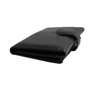 Women's Tri Fold Black Leather Wallet