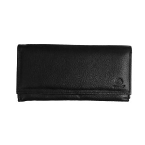 Women's Tri Fold Black Clutch Leather Wallet