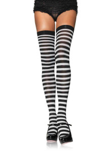 Plus Size Striped Nylon Thigh High Stockings