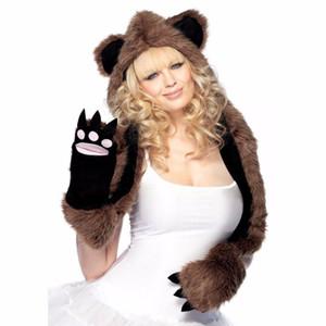 Plush Bear Hood With Paw Scarf Hoodie