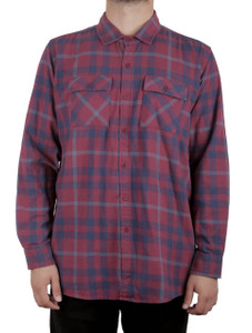 Antifashion - Burgundy Long Sleeve Flannel Shirt