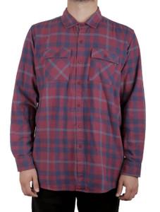 Burgundy Long Sleeve Flannel Shirt