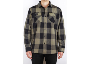 Antifashion - Olive Green Long Sleeve Flannel Shirt
