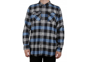 Antifashion - Blue Long Sleeve Flannel Shirt