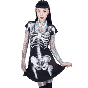 Kreepsville 666 - Skeleton White Flare Dress