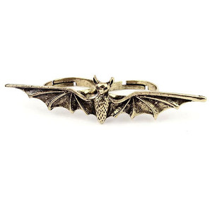 Vintage Bronze Bat Wing Handlebar Two Finger Ring