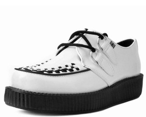 T.U.K. Shoes - V7269 White Leather Viva Low Creeper