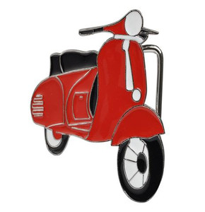Red Vespa Metal Belt Buckle