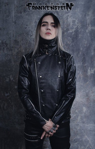Dr. Frankenstein - Black Faux Leather Visual Goth Convertible Jacket