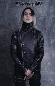 Black Vinyl Visual Goth Convertible Military Jacket