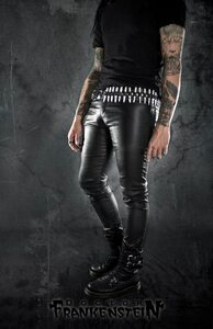 Black Wax Skinny Rocker Pants