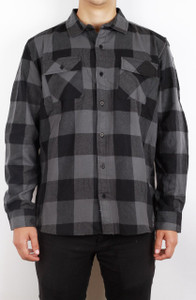 Antifashion - Dark Grey Long Sleeve Flannel Shirt