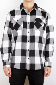 White and Black Long Sleeve Flannel Shirt